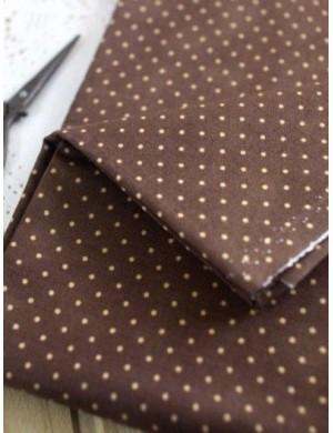 Ткань 100 % Хлопок, Горошек беж на коричневом, Плотность 155 г/м2, ширина 110 см.
