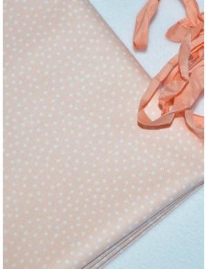 Ткань Горошек персиковый