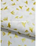 Ткань хлопок Птички золотые с глитером