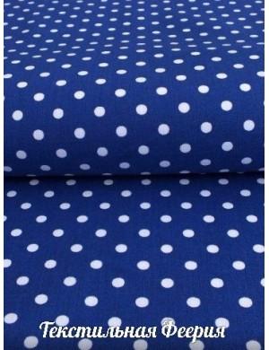 Ткань 100 % хлопок Белый горох на синем фоне 5 мм, Плотность 145 г/м2, Ширина 150 см.