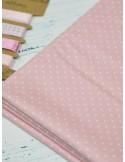 Ткань 100 % хлопок Горох нежно-розовый 1 мм. Ширина 110 см. Плотность 130 г/м2.