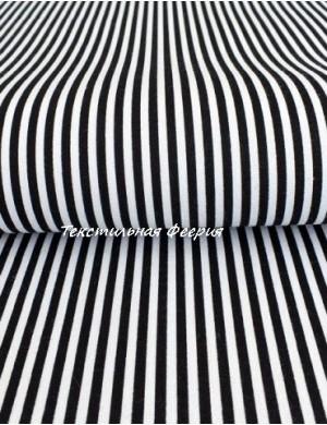 Ткань хлопок Полоса черная 3 мм