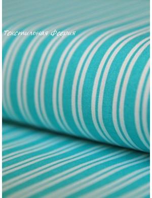 Ткань хлопок Полоса бирюза 5 мм.