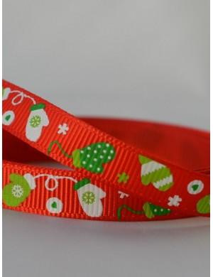 Репсовая лента Новогодняя красная рукавичка