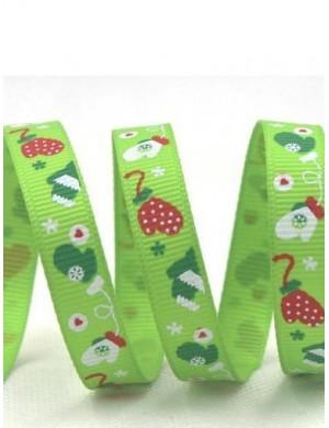 Репсовая лента Новогодняя зеленая рукавичка
