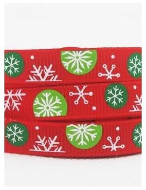 Репсовая лента Новогодняя красная, снежинки