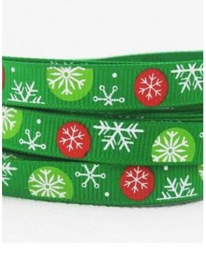 Репсовая лента Новогодняя зеленая, снежинки