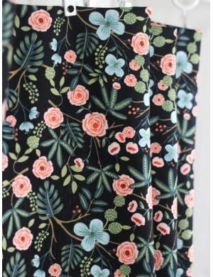 Оксфорд Тропичные цветы на черном фоне