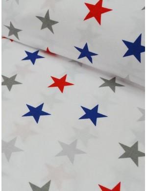 Ткань Звезды красно-синие