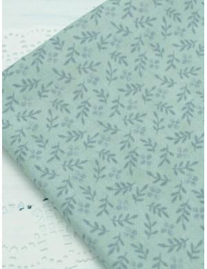 Ткань хлопок Веточки на серо-голубом фоне