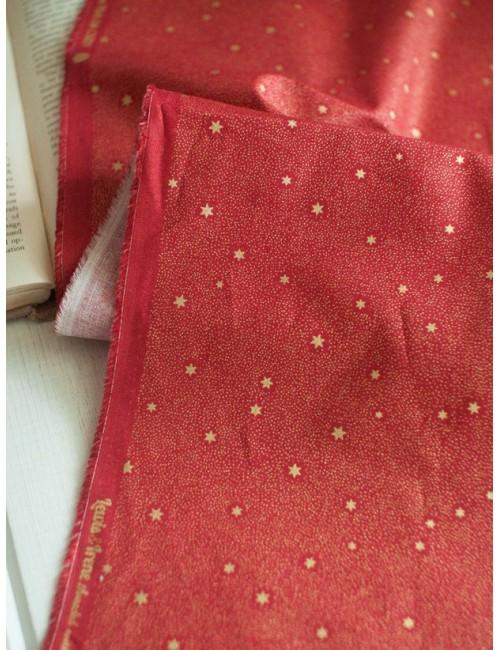 Ткань хлопок Золотые звезды на красном