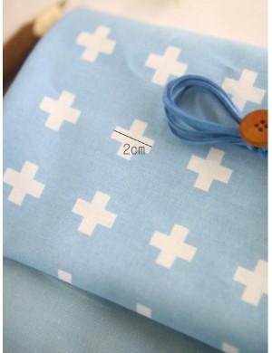 Ткань голубые крестики