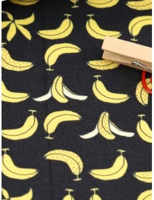Ткань хлопок Бананы на темно-сером