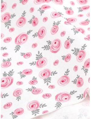 Ткань хлопок Розовые розы на белом