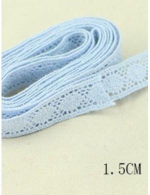 Кружево хлопковое, голубое 1,5 см.