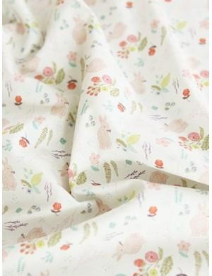 Ткань хлопок Зайчики в цветах