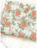 Ткань хлопок Цветы на серо-зелёном фоне