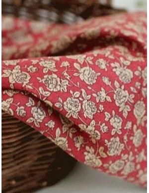 Ткань Розы на бордовом
