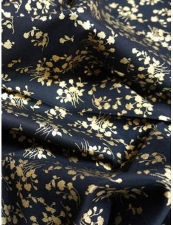 Ткань Цветы золото на черном