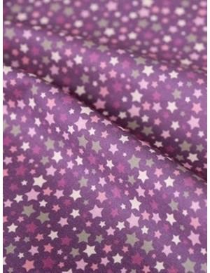 Ткань 100 % Хлопок, Звезды сиреневые. Плотность 155 г/м2, ширина 110 см.
