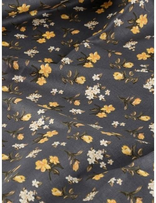 Ткань Жёлтые цветы на сером