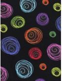 Ткань Круги на черном