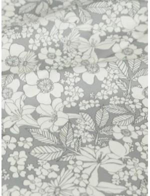 Ткань Цветочная серо-белая