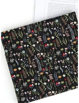 Ткань Хлопок Полевые цветы на черном
