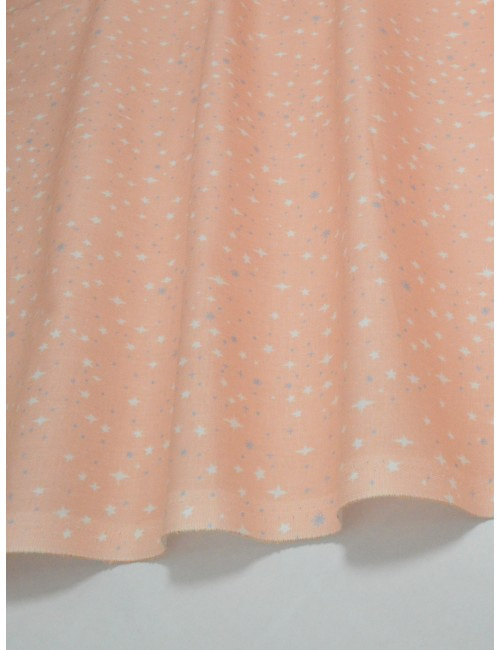 Ткань Хлопок Звезды на персиковом фоне