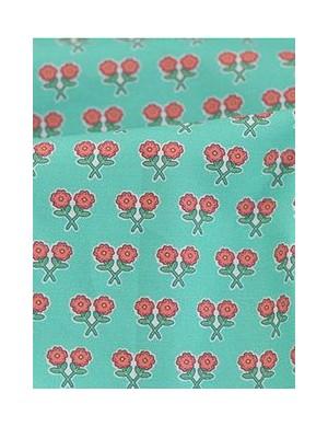 Ткань 100 % Хлопок, Цветочная на берюзе, Плотность 155 г/м2, ширина 110 см.
