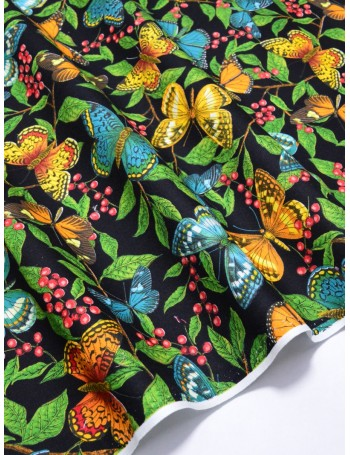 Ткань 100 % Хлопок Бабочки на черном 150 (г/м2), ширина 110 см.