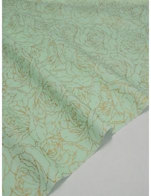 Ткань 100 % Хлопок Глиттоный розы на мятном фоне 150 (г/м2), ширина 110 см.