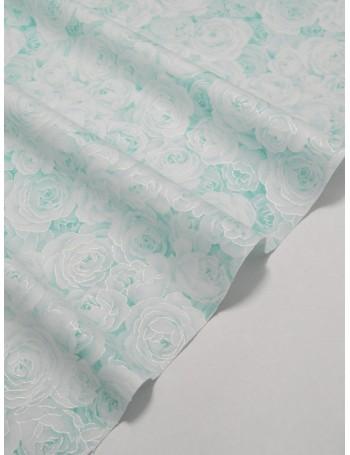 Ткань 100 % Хлопок Глиттерные розы на голубом фоне 150 (г/м2), ширина 110 см.