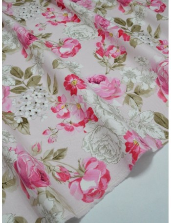 Ткань 100 % Хлопок Шебби розы на розовом фоне 150 (г/м2), ширина 110 см.