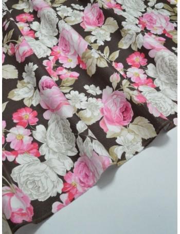 Ткань 100 % Хлопок Шебби розы на коричневом фоне 150 (г/м2), ширина 110 см.