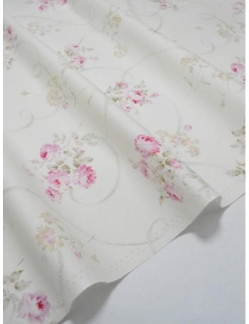 Ткань 100 % Хлопок Шебби розы на белом фоне 150 (г/м2), ширина 110 см.