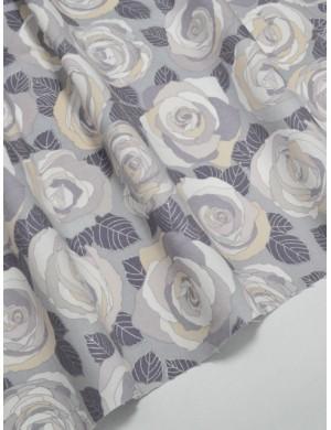 Ткань 100 % Хлопок Серые розы с глиттером 155 (г/м2), ширина 110 см.