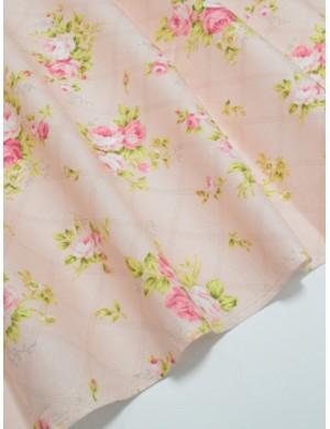 Ткань хлопок 100 % Бутоны роз на розовом фоне, Плотность 155 г/м2, ширина 110 см.