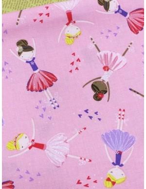 Ткань 100 % Хлопок Балерины на розовом фоне 150 (г/м2), ширина 110 см