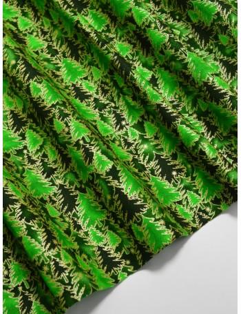 Ткань 100 % Хлопок Ёлки с глиттером на зеленом фоне 125 (г/м2), ширина 110 см.