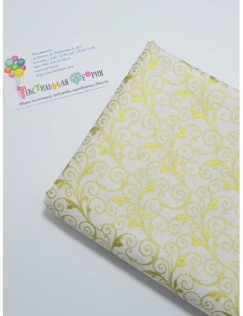 Ткань 100 % Хлопок , Завитки с глиттером на белом фоне, Плотность 145 (г/м2), ширина 110 см.