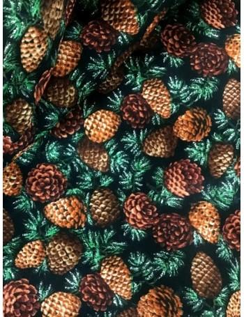 Ткань 100 % Хлопок, Новогодние шишки с глиттером , Плотность 150 (г/м2), ширина 110 см