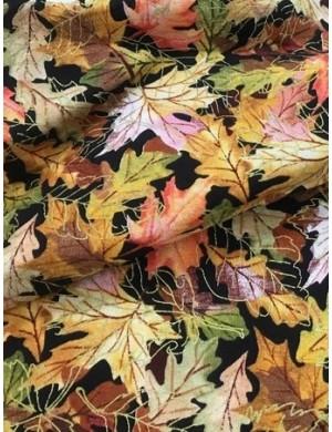 Ткань 100 % Хлопок, Осенние листья с глиттером, Плотность 150 г/м2, ширина 110 см.
