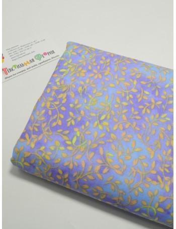 Ткань 100 % Хлопок, Жёлтые веточки на сиреневом фоне, Плотность 145 г/м2, ширина 110 см.