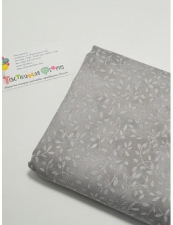 Ткань 100 % Хлопок, Веточки на сером , Плотность 145 г/м2, ширина 110 см.