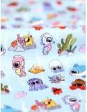 Ткань 100 % Хлопок, Рыбки на голубом фоне , Плотность 150 г/м2 , ширина 110 см