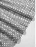 Ткань 100 % Хлопок, Серебряный горох на сером фоне , Плотность 150 г/м2 , ширина 110 см, размер 4 мм