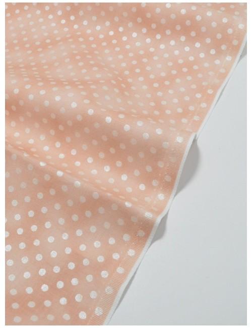 Ткань 100 % Хлопок, Серебряный горох на персиковом фоне , Плотность 150 г/м2 , ширина 110 см