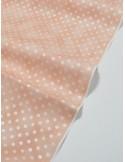 Ткань 100 % Хлопок, Серебряный горох на персиковом фоне , Плотность 150 г/м2 , ширина 110 см, размер гороха 4 мм.