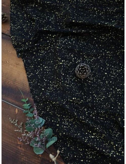 Ткань 100 % Хлопок, Золотой горох на черном фоне , Плотность 150 г/м2 , ширина 110 см